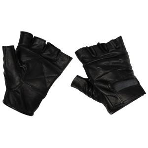 Перчатки без пальцев кожаные чёрные MFH 15514